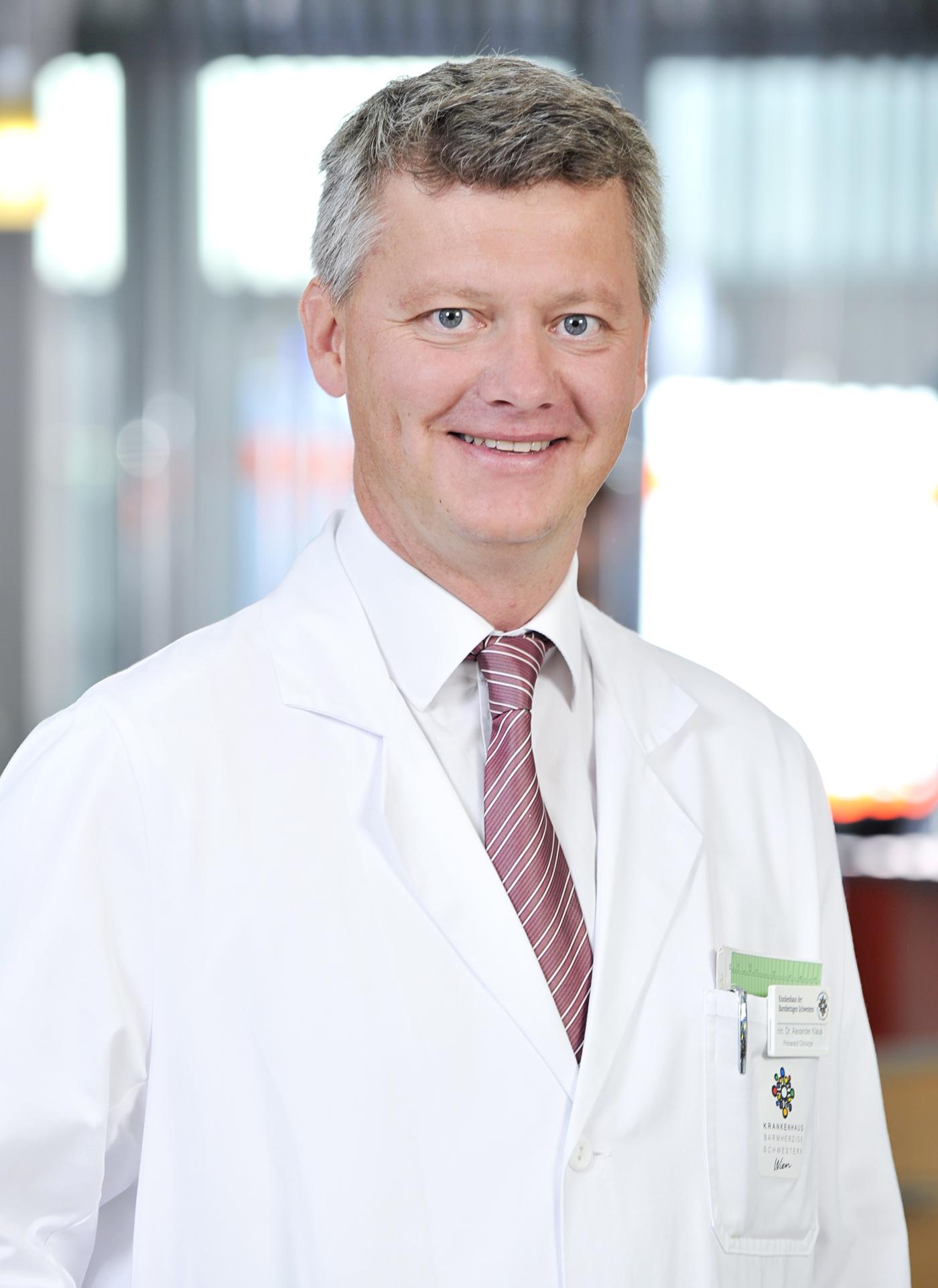 Prim. Univ.-Prof. Mag. Dr. Alexander Klaus, FACS, Leiter der Abteilung für Allgemein- und Viszeralchirurgie am Barmherzige Schwestern Krankenhaus Wien Credit: BHS Wien / Robert Herbst